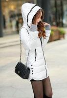 High quality down jacket hooded button decorate slim design zippered winter coat midium long women's coat XY110