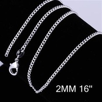 Cool 1pcs 2mm 16 inch 925 Sterling Silver Sideways to chain Lobster Clasp Necklace Free Shipping CC015