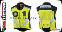 American  motorcycle racing team travel back firmly riding reflective safety vest