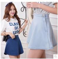 2014 New High Waist Denim Skirt Female Summer Skirts Tutu Skirt Korean Version Of The Retro Big Swing Sheds Tide A Word Skirt