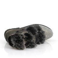 2014 female botas de inverno autumn winter women's shoes brand fashion PU leather rabbit fur and rhinestone thick heel boots