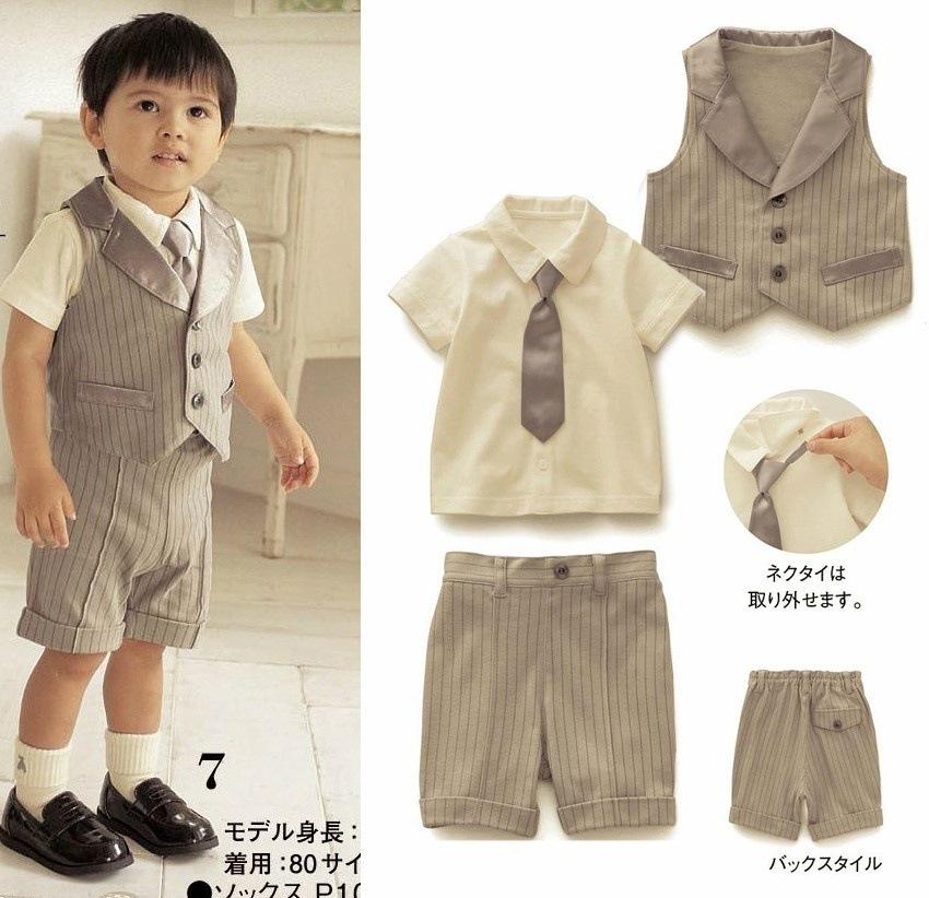 2015 New baby boy set summer kids gentleman 3pcs suit striped vest+short sleeve shirt+pants suit 1-3T chidren clothing set 617C(China (Mainland))