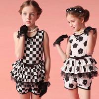 2014 FBT New Girls Summer Sets Paris Style Uptown Girl Black White Flower Plaid 2pcs/set conjuntos meninas roupas de crianca