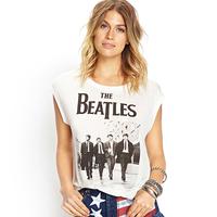Women White Cotton Tank Top Beatles Photo Printed Round Collar Sleeveless Casual European Style Fashion Tops D527