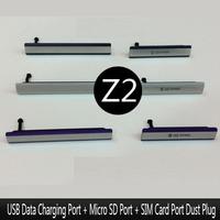 for Sony Xperia Z2 L50 L50w D6503 D6502 D6543 USB Data Charging Port Micro SD Card Port SIM Card Port Dust Plug Block Cover Set