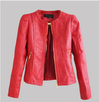 leather jacket women	2014 new winter PU motorcycle jacket women with 2 side zipper pocket wholesale drop shipping