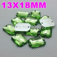 13x18MM 500PCS/LOT Peridot Green Color Superior Acrylic Sew On 2 Holes Rectangular Octagonal Shape Flat Back Stone