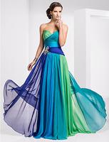 Custom Sizes Sheath/Column Sweetheart Floor-length Chiffon Ombre Evening/Prom Dress/Evening Dresses WD001