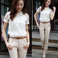 Fashion Lady Elegant Flower Hollow Chiffon Lace Short Sleeve Tops Blouse T-Shirt