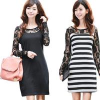 New autumn and winter fashion women dress women Slim lace dress  Striped Dress