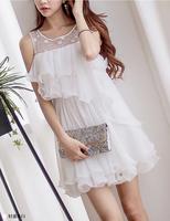 2014 New design multi-layer  elegant   fight white chiffon lace girl's formal dress