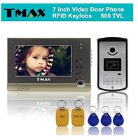 "TMAX 7"" TFT Wired Doorbell Video Intercom Door Phone System RFID Keyfob 600TVL HD IR Camera"