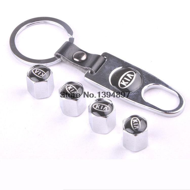 Silver KIA 4 Pcs Car Tires Valve Stem Caps +1 pc Tool Wrench Keychain/KIA Car Tires Valve Stem Caps(China (Mainland))