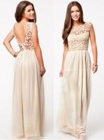 s-xl 2015 Summer Fashion Lace Open Back Dress Women Sleeveless Long dress vestido de renda vestidos de festa free shipping