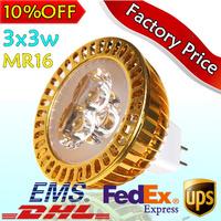 3PCS/LOT Hot Sale CREE Bulb led bulb MR16 9w 3x3W 110V 220V led Light led lamp spotlight free shipping