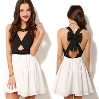 New Fashion Sexy Women Summer Chiffon Sleeveless Party Evening Backless Mini Dress