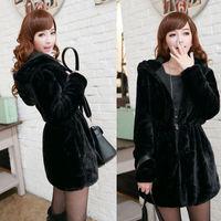 New Fashion Women Warm Faux Fur LONG Coat Reversible Jacket Black Hooded Parka Winter