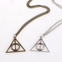 New Vintage Harry Potter pendant necklace Luna Deathly Hallows triangle sweater chain sliver bronze 24pcs