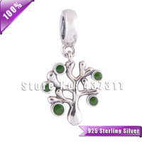 100% S925 Sterling Silver Beads Green Crystals Tree Dangle Charm Fit European Chamilia Charm Bracelets & Necklaces YZ301