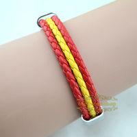 Free shipping Spain national flag leather bracelet,Casual Sport bracelet&bangle