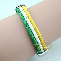 Free shipping Ireland national flag leather bracelet,Casual Sport bracelet&bangle