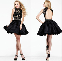 2014 New Arrival A-line High Collar Short Mini Black Pearls Satin Open Back Homecoming Dresses Cocktail Dresses