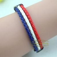 Free shipping High qulity France national flag leather bracelet,Casual Sport bracelet&bangle