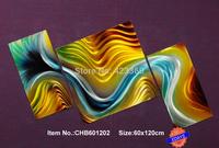 """Huge24.5""""x48.5"""" Original Metal Wall Art Modern Painting Sculpture Home Decor  """"Green River""""   ,Set of 3"""