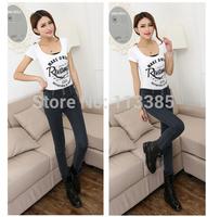 Free shipping Fashion women 3 pieces button high waist pencil pants jeans thin slim denim jeans women trousers 26~31