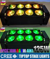 2pcs/lot 8pcs*10W Cree RGBW Led Spider Light Led Bar Beam Light 4IN1 DMX512 110-240V Led Beam Light Led Effect Light