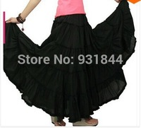 5-layer stitching Gypsy Bohemian BOHO full circle cotton high waist maxi skirts dancing black dirt Spain, pleated long skirts