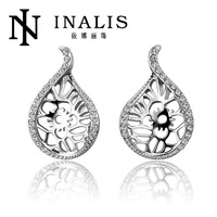 E756 Wholesale! Nickle Free Antiallergic 18K Real Gold Plated Earrings For Women New Fashion   Jewelry Free Shipping