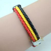 Free shipping High qulity Belgium national flag leather bracelet,Casual Sport bracelet&bangle