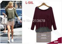 Big Size L XL XXL XXXL 4XL 5XL 2014 Autumn New Women Elastic Loose 2 pieces Set Long Sleeve T-shirt + Striped Dress European