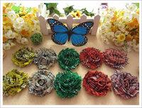 120pcs shabby pattern chiffon foldover flower lace flower heads flower hair accessories for headband hairband