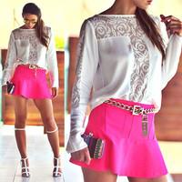 blusas femininas 2014 women chiffon blouses long sleeve lace woman top white blouse S M L XL XXL Free shipping