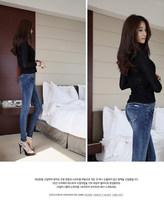 Free shipping Fashion women skinny pencil pants jeans thin slim denim jeans women full trousers 25~32