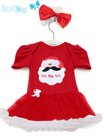 1 piece Retail New 2014 Christmas clothing set,girls dress,red  ruched dress, casual cotton ,Free shipping