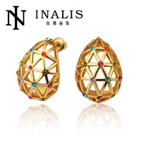 E832 Wholesale! Nickle Free Antiallergic 18K Real Gold Plated Earrings For Women New Fashion Jewelry Free Shipping