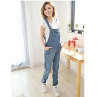 For Pregnant Women Cotton Denim Jumpsuit High Waist Elastic Jeans XL Maternity Denim Belly Pants Free Shipping