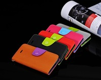 New Arrival 5 color pure color cell phone Case Flip stand shell credit ID card Case with Lanyard Cover  for iPhone 5 5S