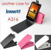 Free shipping 2014 new item Top quality PU leather flip case for lenovo a316i a316 phone case COVER mobile phone bags