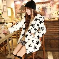 2014 Autumn Faux Fur Coat Women Stars Print Fur Overcoat Hood Winter Fur Parkas Pele Solta Size S-XXL Free Shipping