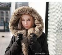 2014 winter women down jacket luxury  large fur collar fashion slim waist medium-long parka womens down coat Down & Parkas