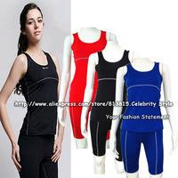SE18 Ladies Women Sports Wear Clothing Sets Body Compression Under Base Layer Tank Tops Gym Yoga Shirt Skins Vest+Pants Shorts