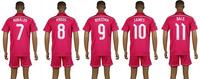 Best quality Real Madrid 2014/15 away RONALDO KROOS BENZEMA pink soccer jersey & shorts set, JAMES BALE soccer kit 2015