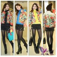 Casual jaquetas femininas 2014 autumn winter coat women plus size short down cotton print desigual clothing female jacket W237