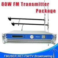 FMUSER FSN-80W 80W FM Transmitter Radio Broadcaster +2*1/2 wave Dipole antenna+Power splitter +15m SYV-50-5 Cable