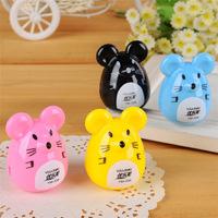 12pcs/lot Stationery Cute Cartoon Mouse Kids Pencil Sharpener For School Student Kids 5*3cm Wholesale