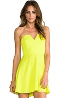 2014 Summer Fashion V-neck Mini Women Dress Empire Solid Color Dress Sexy Cute For Women